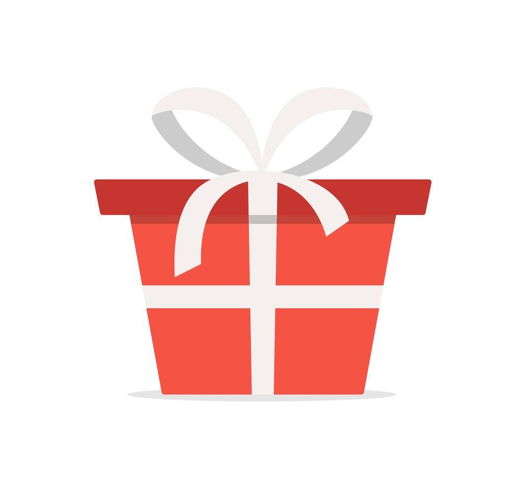 confezione regalo rossa con nastro bianco. icona di illustrazione vettoriale di cartone animato piatto