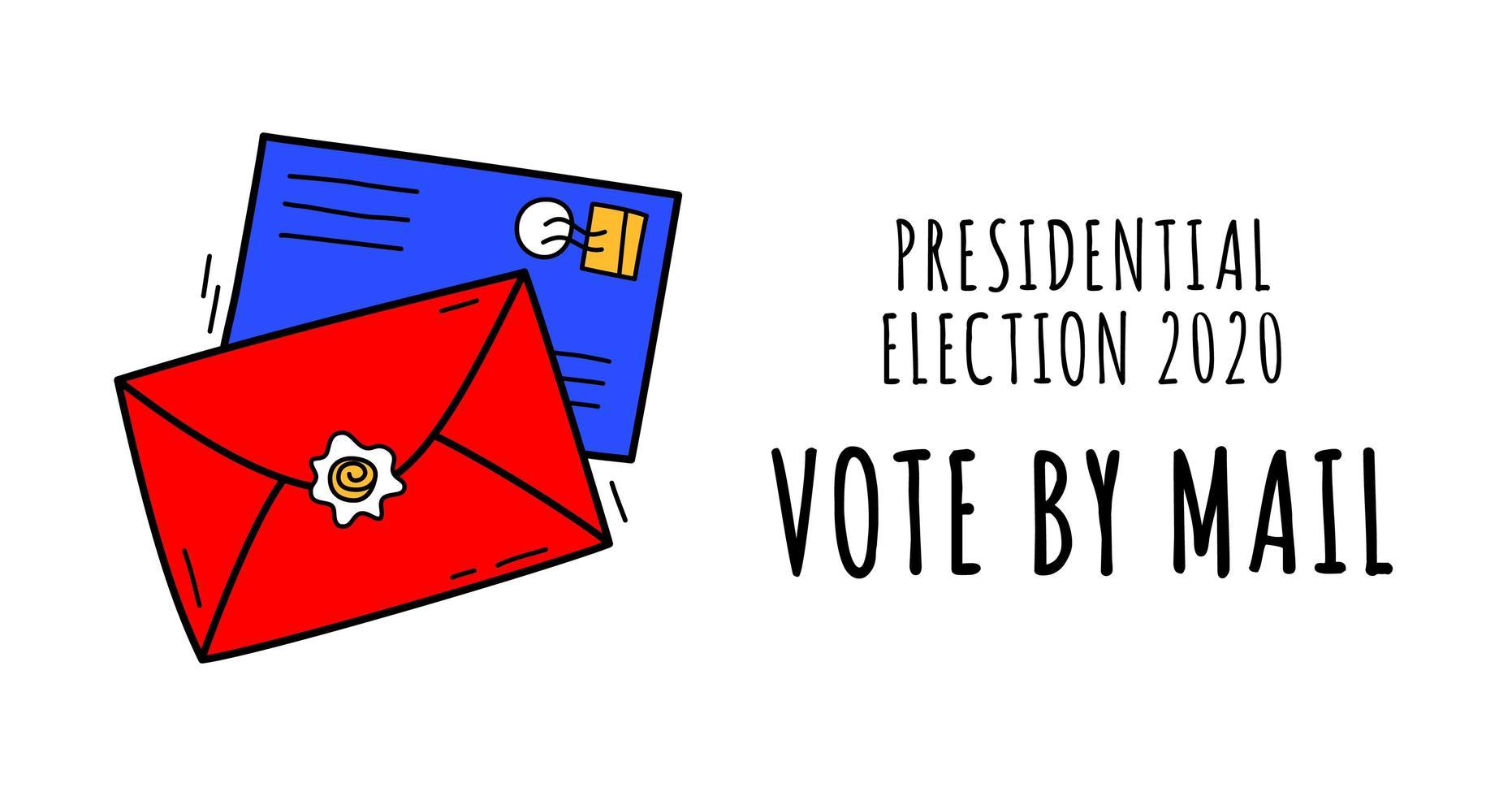 voto disegnato a mano per posta illustrazione vettoriale. stare al sicuro concetto le elezioni presidenziali degli Stati Uniti del 2020. modello per sfondo, banner, carta, poster con iscrizione di testo. vettore