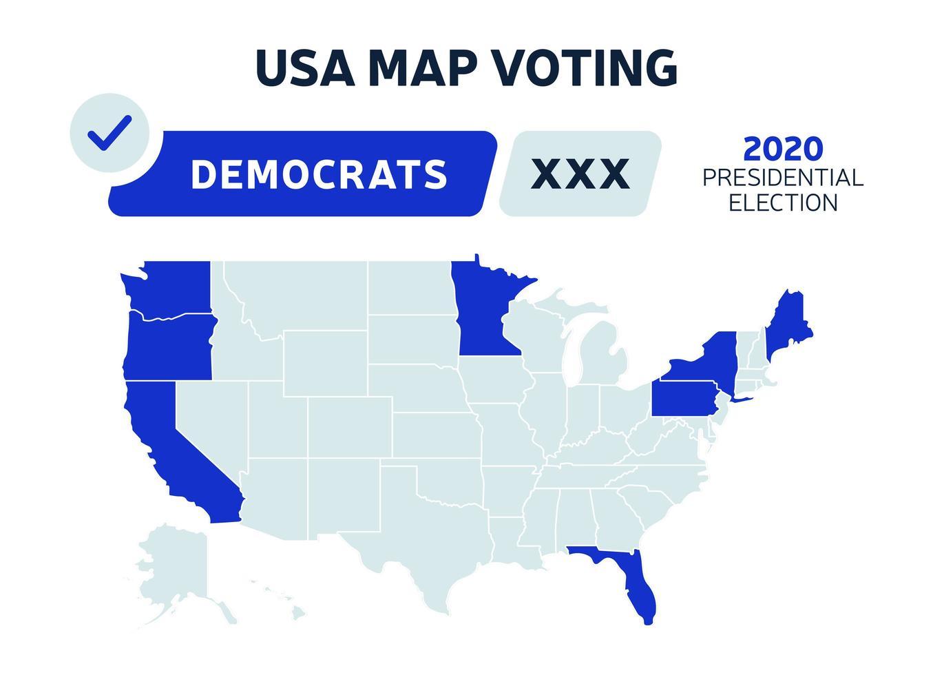 Stati Uniti d'America elezioni presidenziali democratici risultati mappa. voto mappa USA. elezioni presidenziali mappa ogni stato voti elettorali americani che mostrano repubblicani o democratici vettore politico infografica