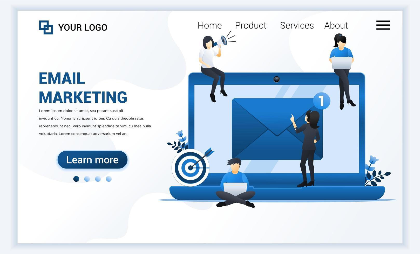modello di pagina di destinazione dell'email marketing, servizi di mailing con persone che lavorano su laptop. moderno concetto di design di pagina web piatta per sito Web e sito Web mobile. illustrazione vettoriale