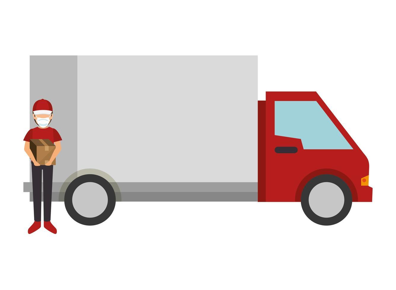 addetto alle consegne con maschera facciale e pacchi e trasporto su camion vettore