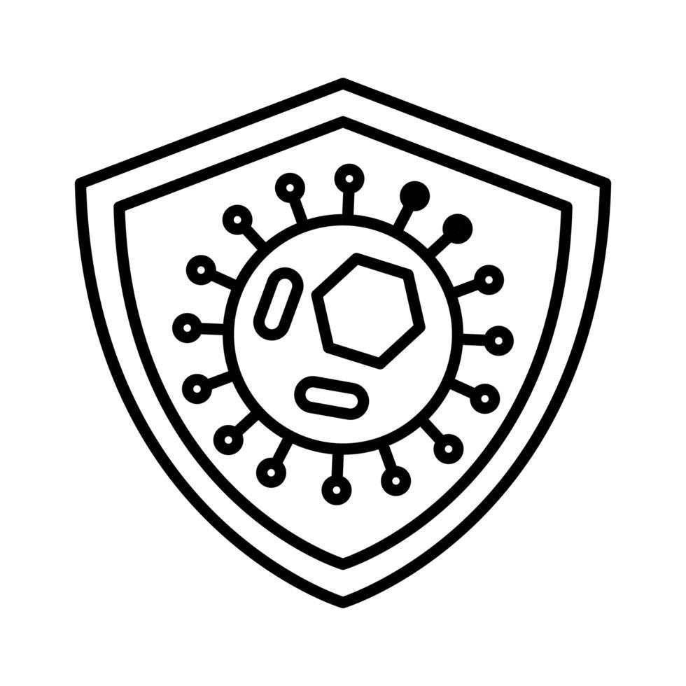 icona della linea di coronavirus, medicina e scienza vettore