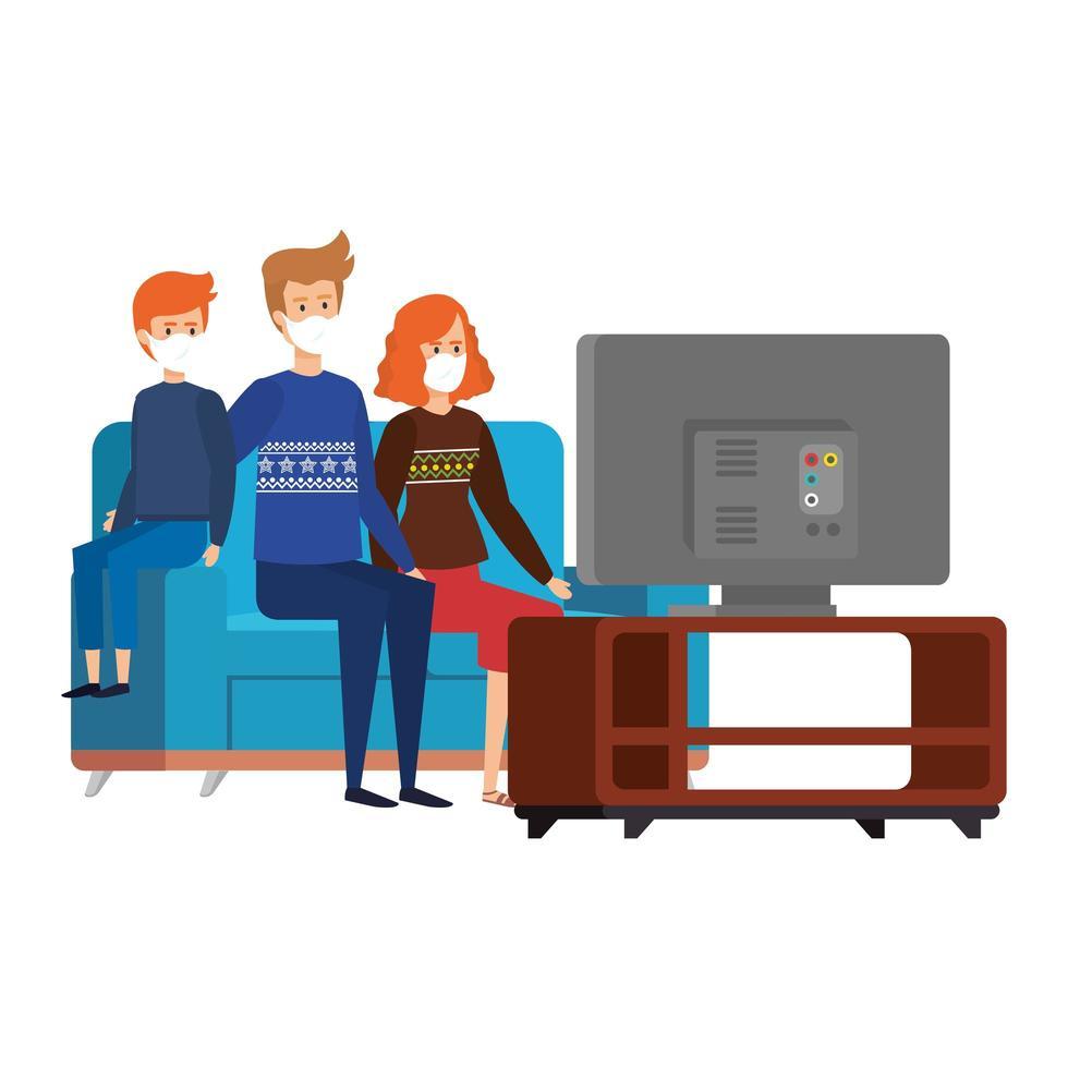 soggiorno a casa campagna con la famiglia che guarda la tv vettore