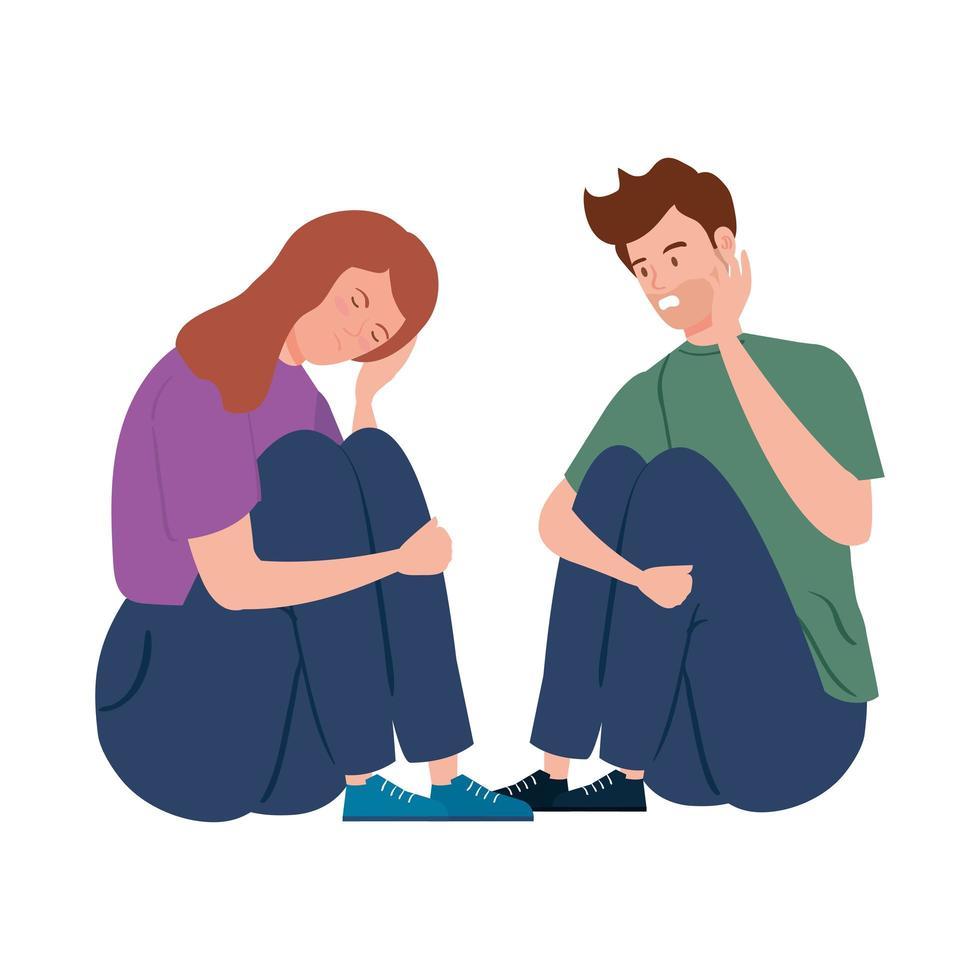giovane coppia depressa e stressata vettore