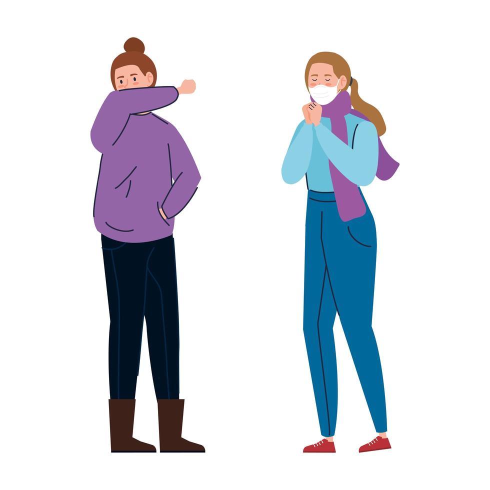 donne con sintomi di coronavirus vettore