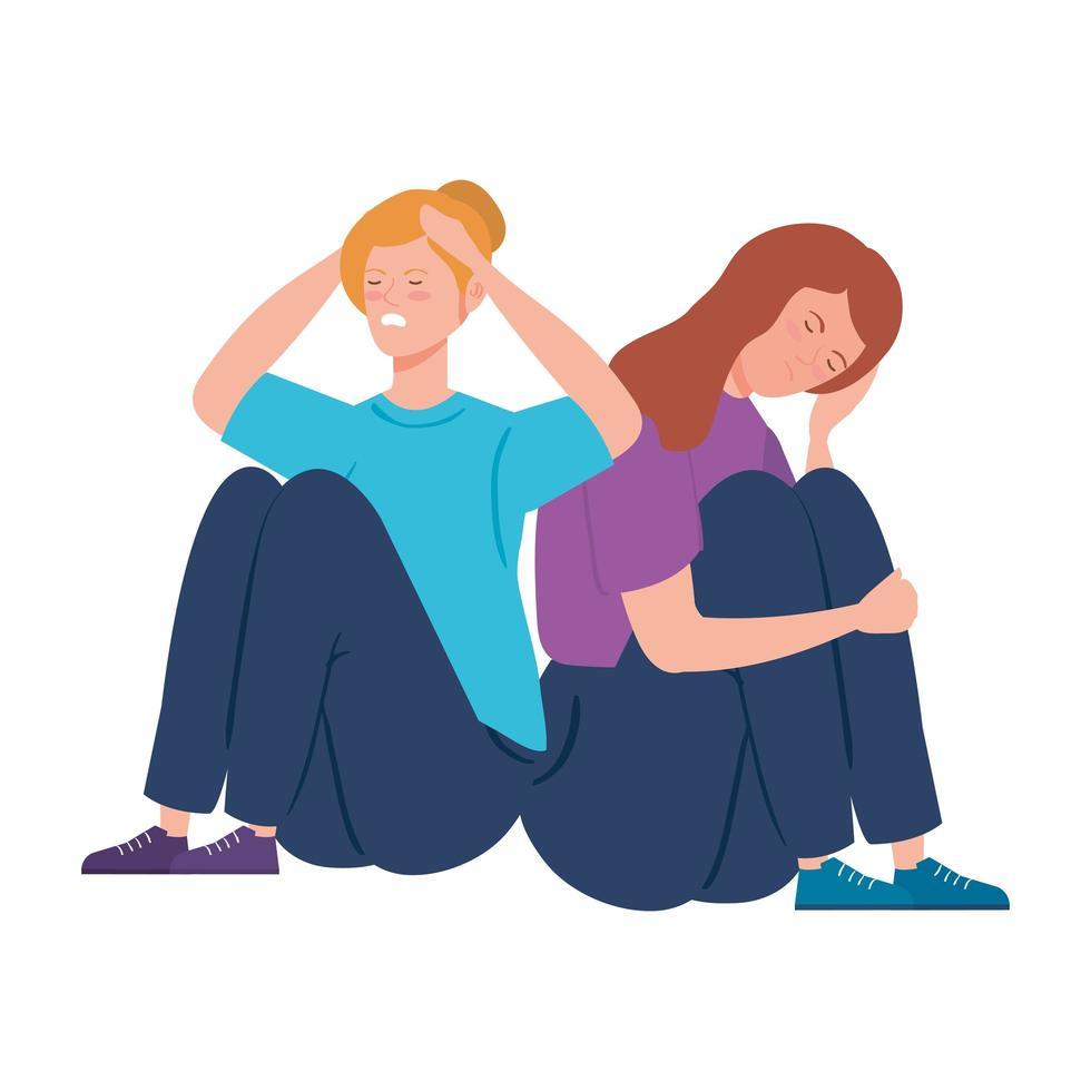 giovani donne depresse e stressate vettore