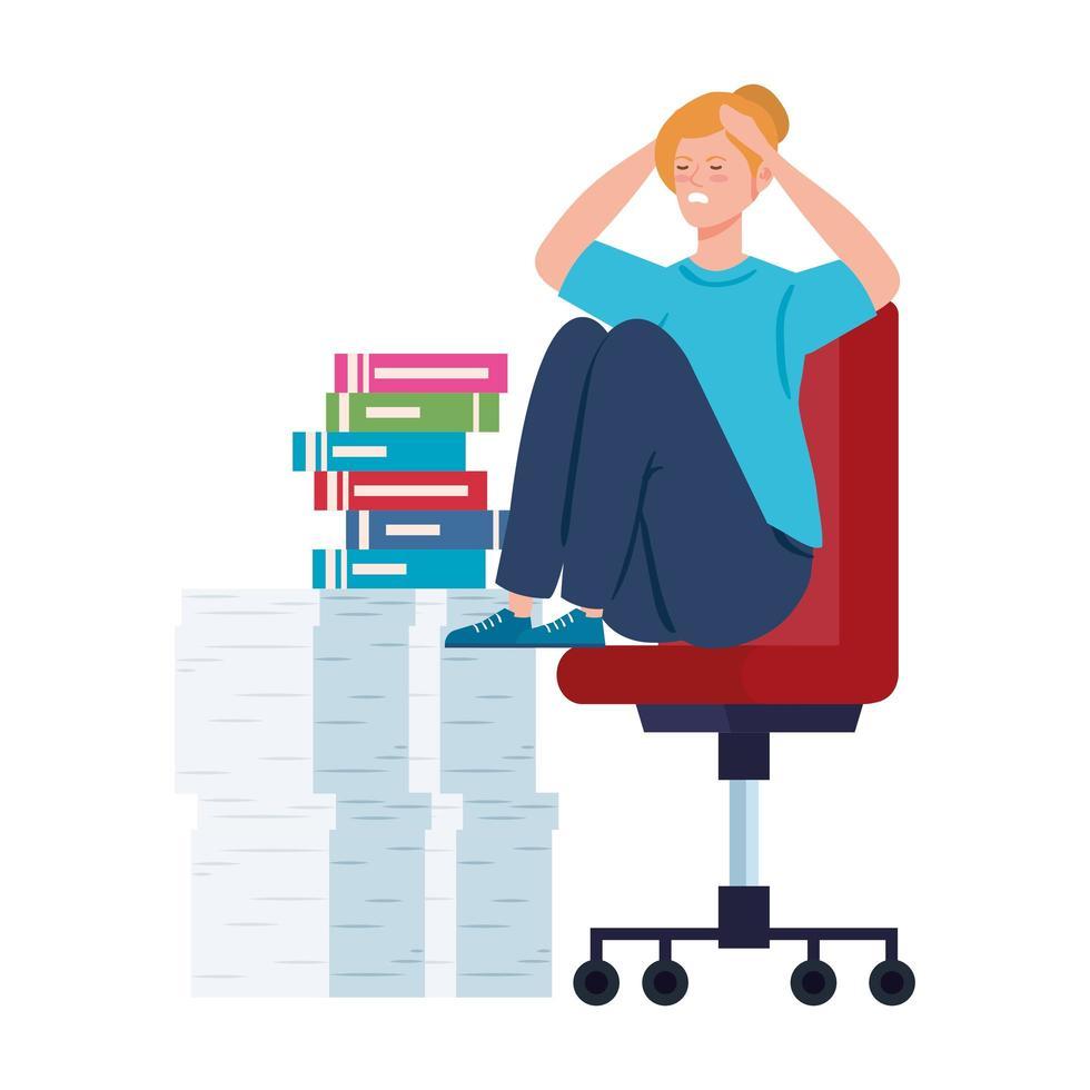 donna nervosa seduta su una sedia con molto lavoro da fare vettore