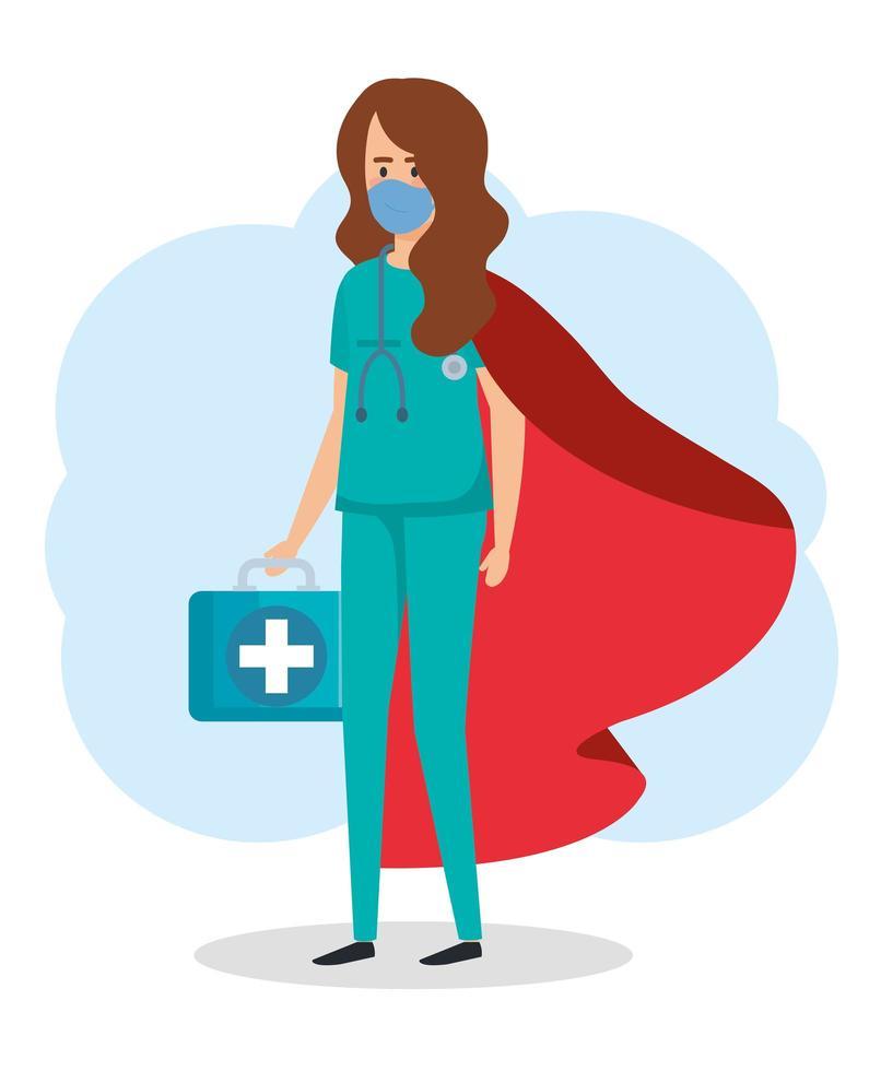 paramedico donna come una super eroina vettore