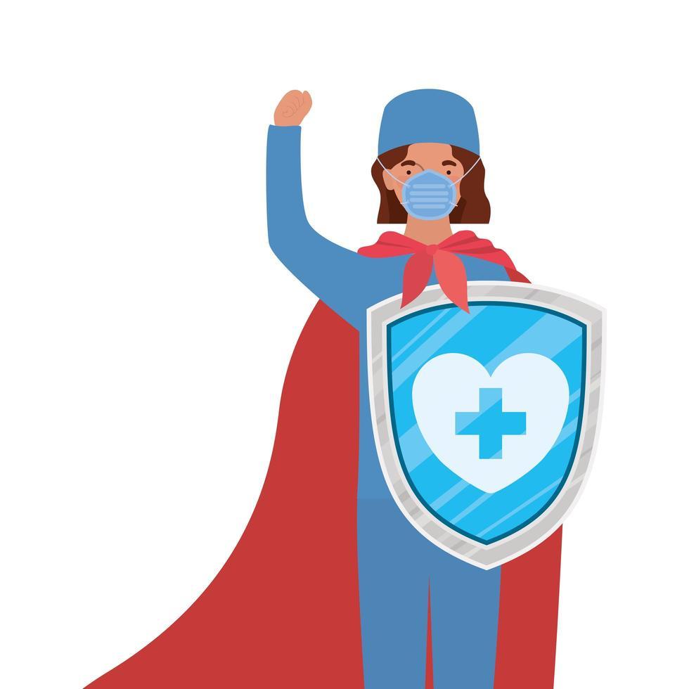 eroe medico donna con mantello e scudo contro il disegno vettoriale del virus ncov 2019