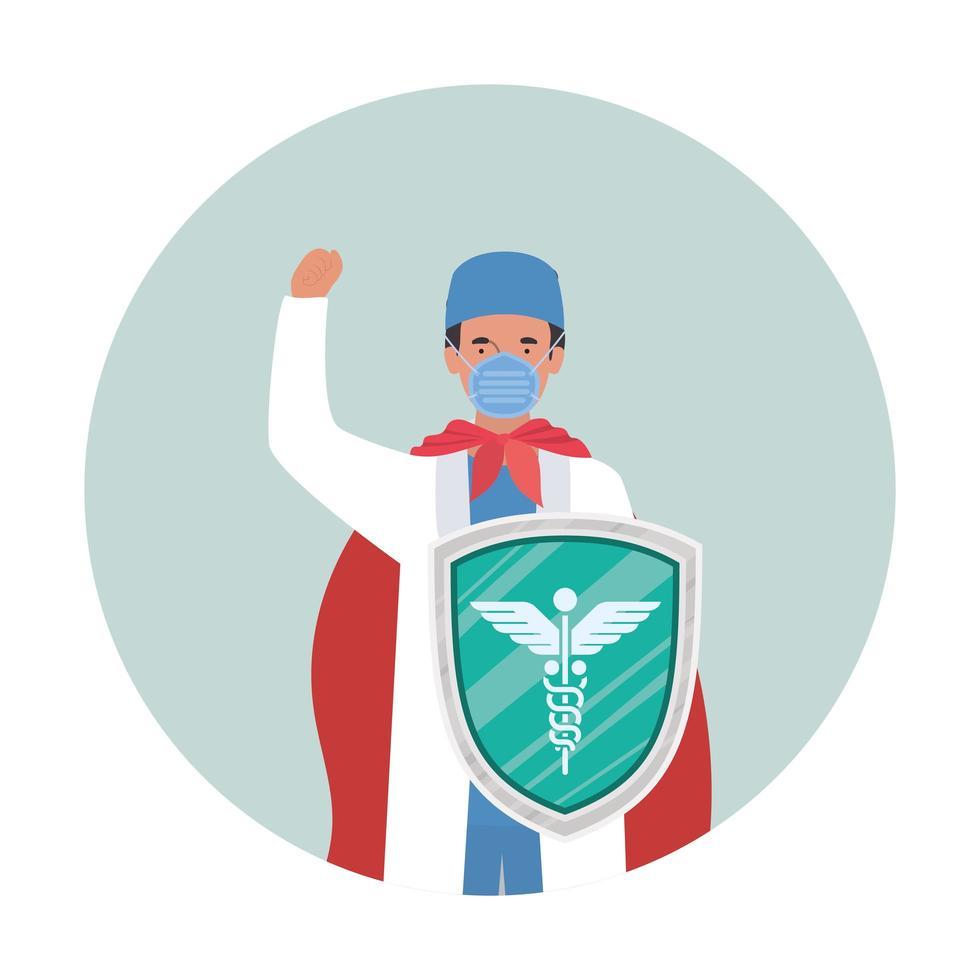 uomo medico eroe con mantello contro il disegno vettoriale del virus ncov 2019