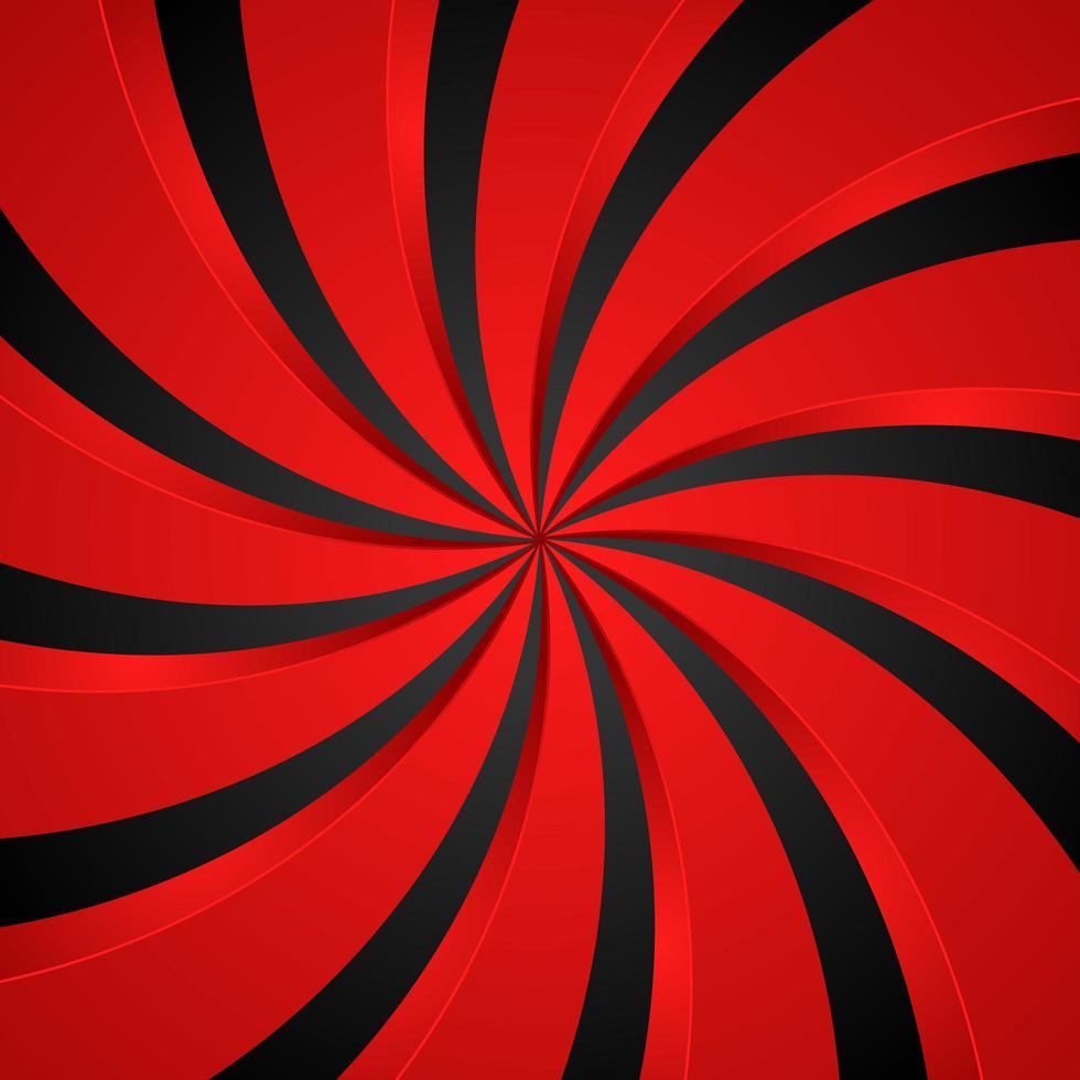 sfondo radiale di turbinio a spirale nera e rossa. sfondo di vortice ed elica. illustrazione vettoriale