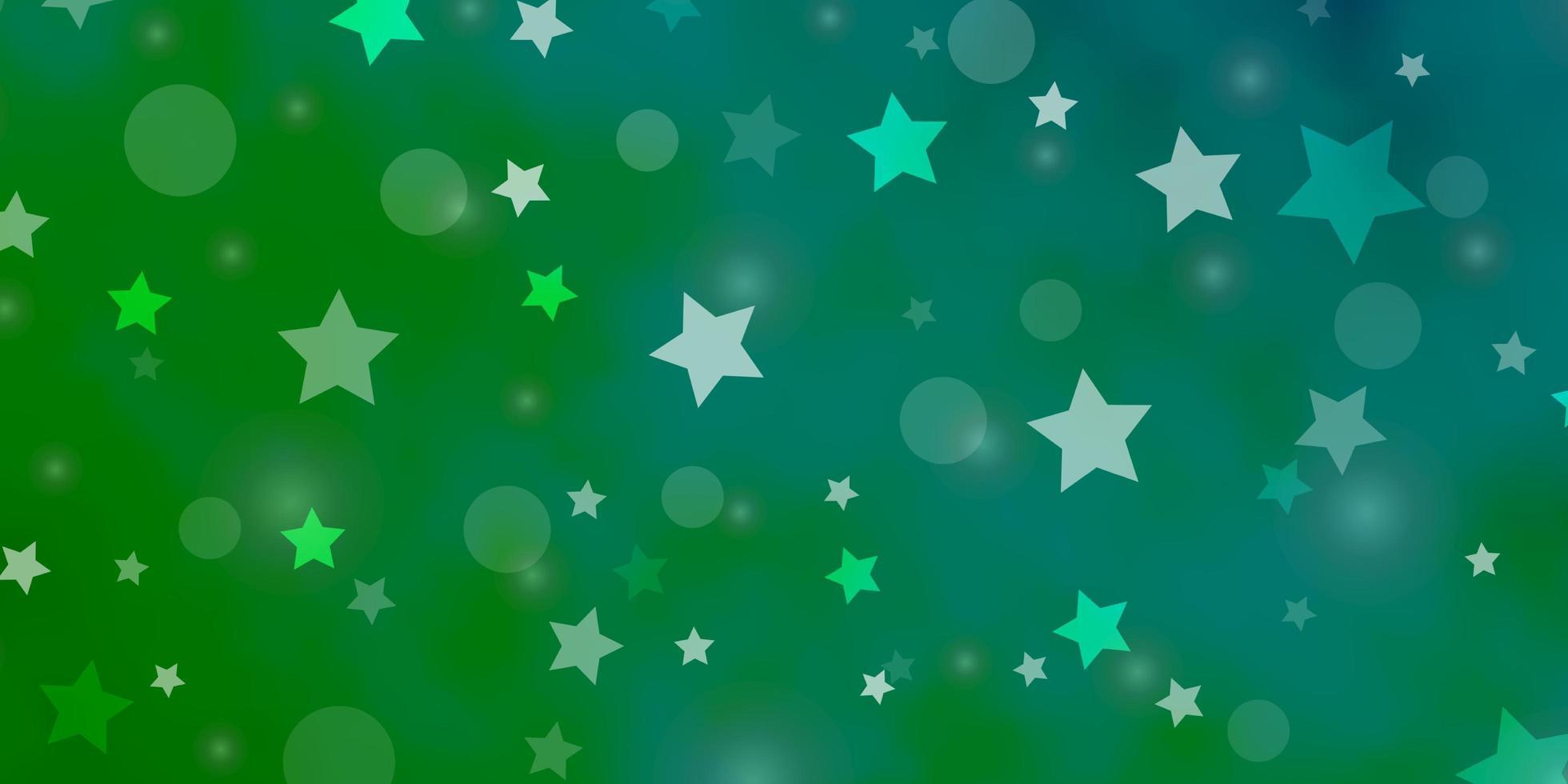 sfondo vettoriale azzurro, verde con cerchi, stelle.