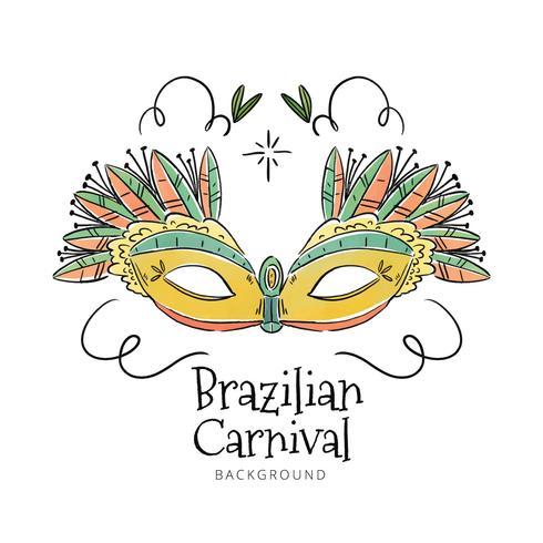 carina maschera brasiliana al mardi gras vettore