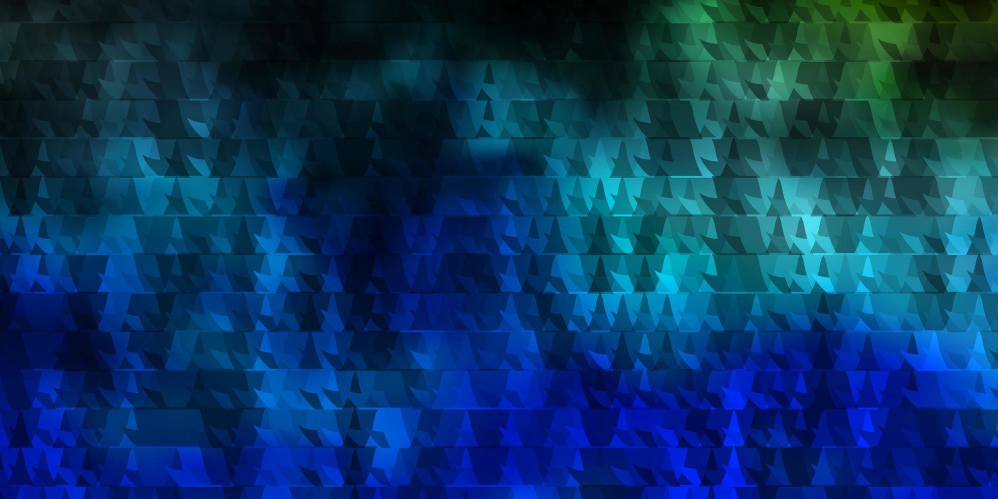 modello vettoriale blu scuro, verde con linee, triangoli.