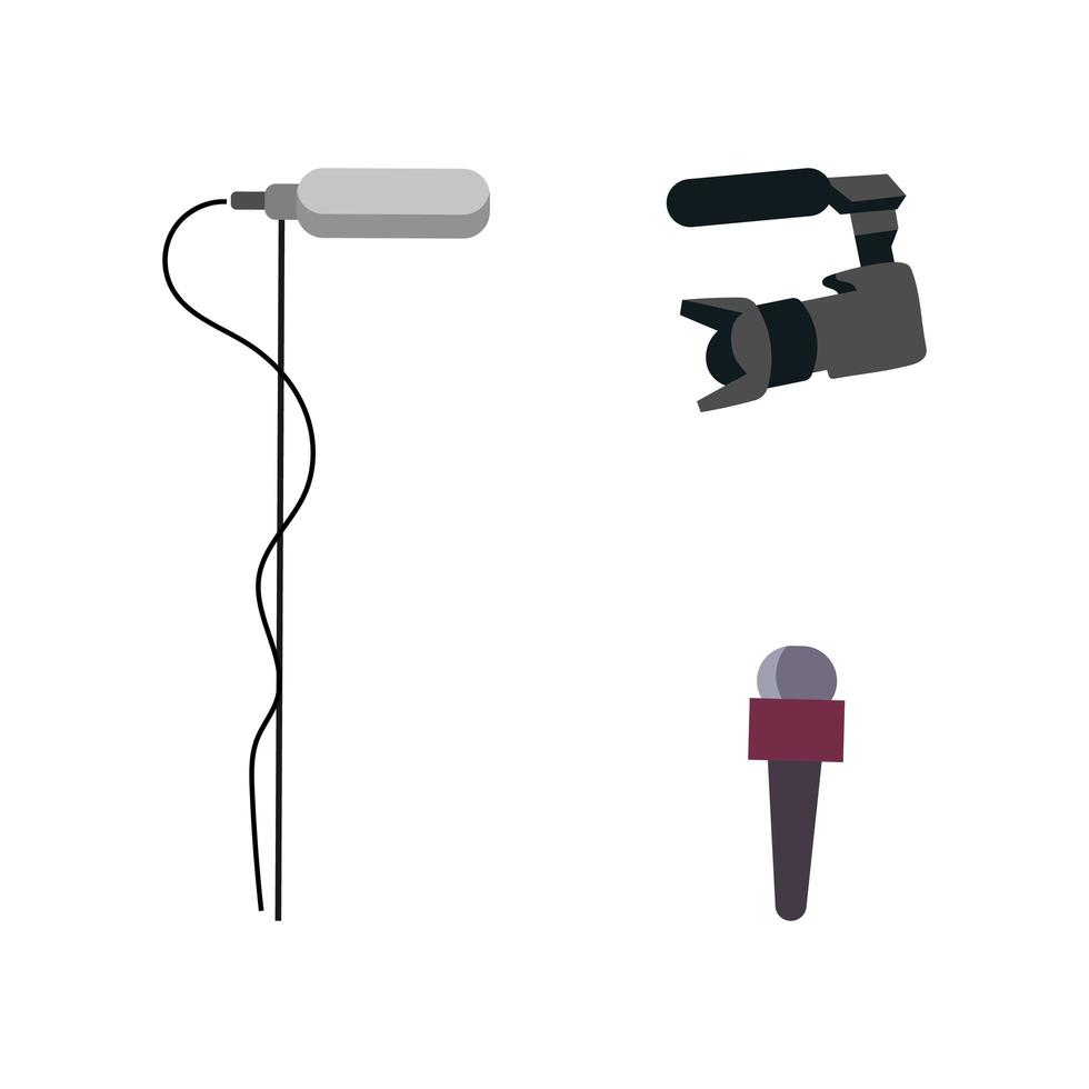 set di oggetti di attrezzature giornalista vettore