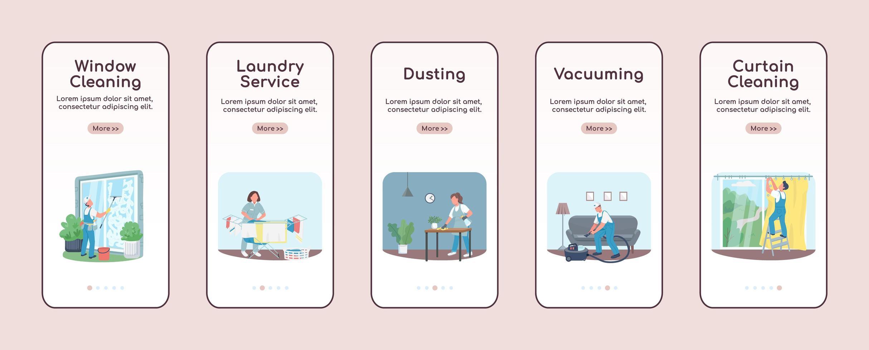 servizi di pulizie onboarding modello di vettore piatto schermo mobile app