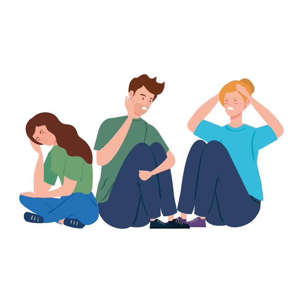 giovani depressi e stressati vettore
