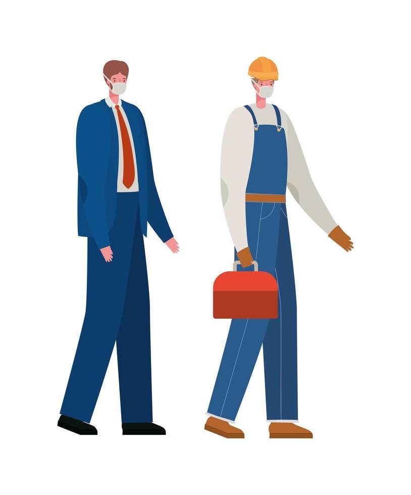 costruttore maschio e uomo d'affari con disegno vettoriale maschere
