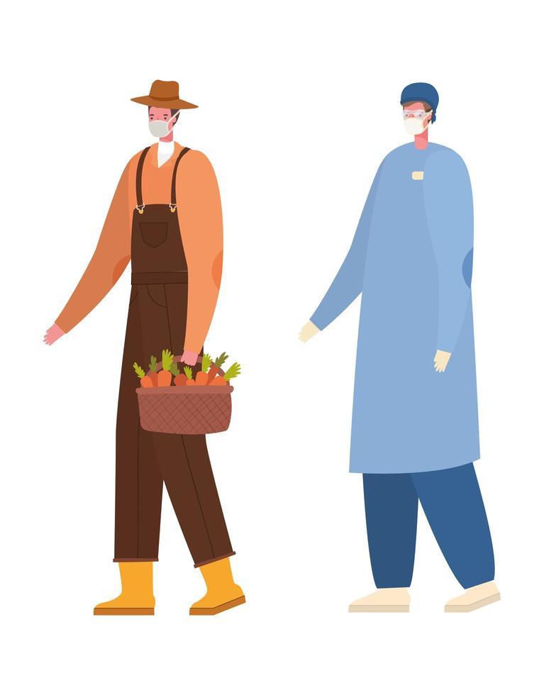 isolato maschio medico e giardiniere con disegno vettoriale maschere
