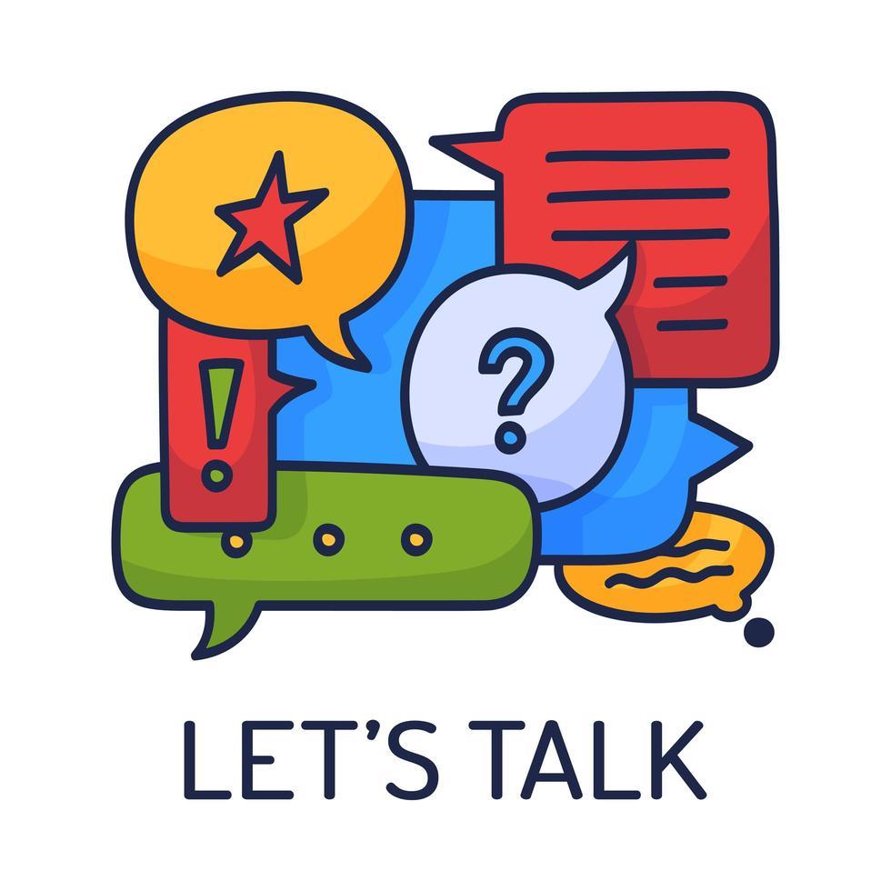 illustrazione vettoriale fumetti di dialogo con icone e testo parliamo su sfondo bianco. concetto di tecnologia di comunicazione di sicurezza. design piatto sottile linea arte della tecnologia mobile