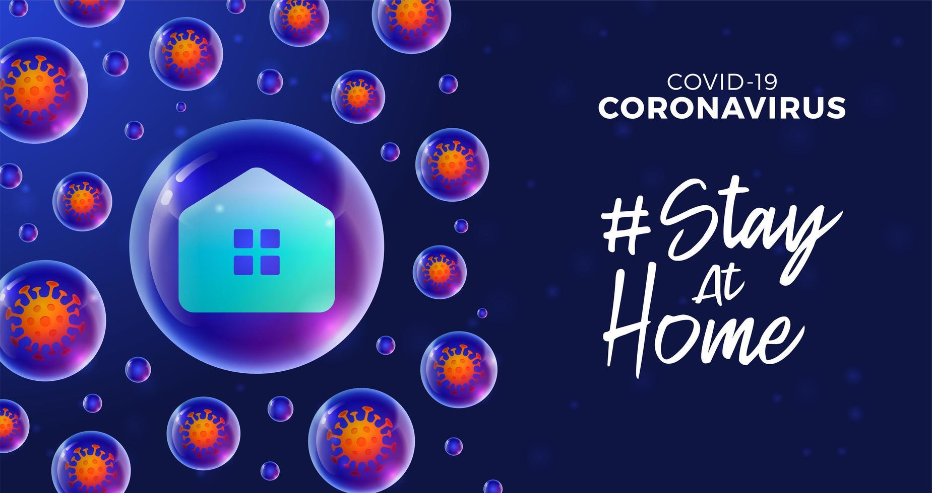 soggiorno futuristico a casa durante il concetto di epidemia di coronavirus. concetto di prevenzione malattia covid-19 con cellule virali, palla realistica lucida su sfondo blu vettore
