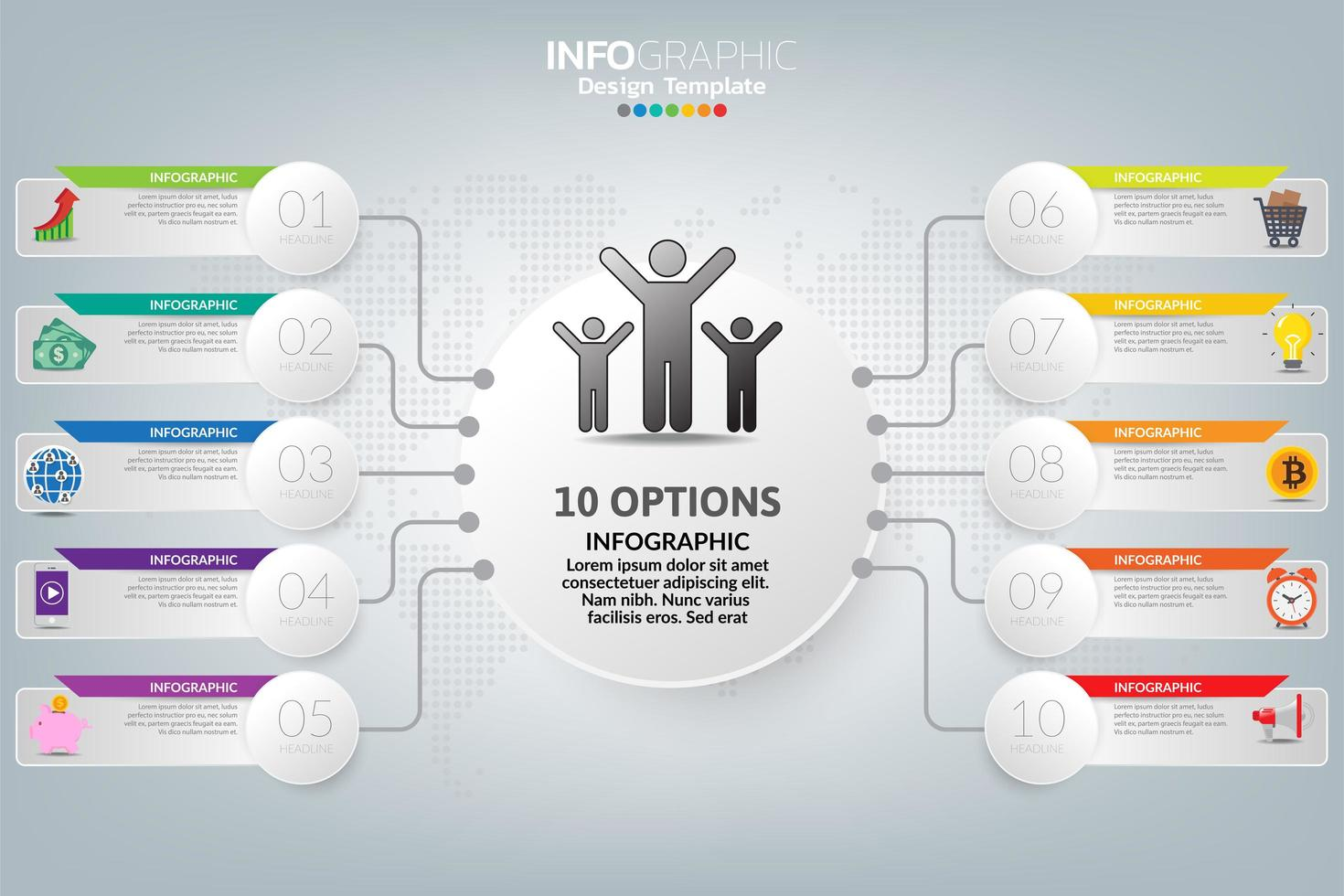 Il vettore e le icone di progettazione infografica possono essere utilizzati per layout del flusso di lavoro, diagramma, report, web design. concetto di business con opzioni, passaggi o processi.