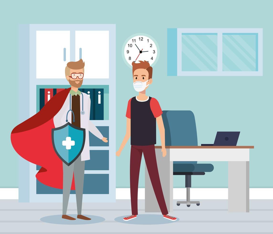 super medico con l'uomo nella stanza dell'ufficio vettore