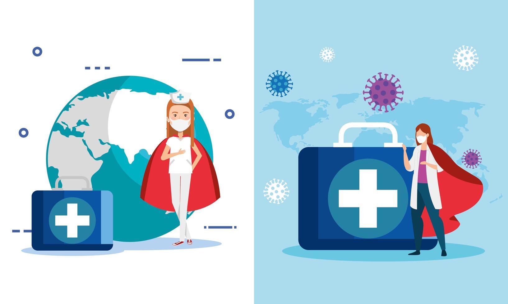 impostare super infermiera e medico con mantello di eroina e icone mediche vettore
