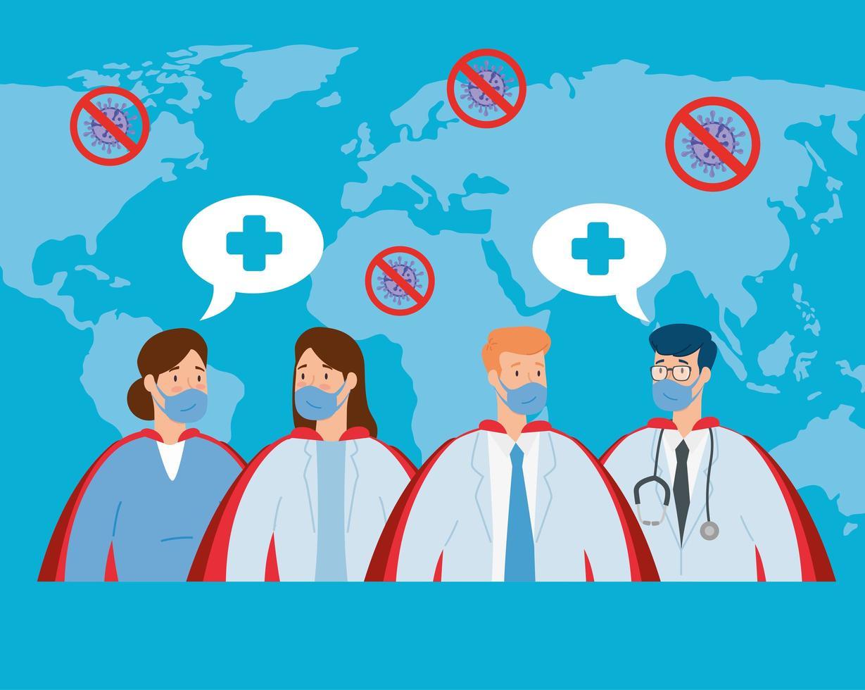 gruppo di banner di professionisti della salute vettore