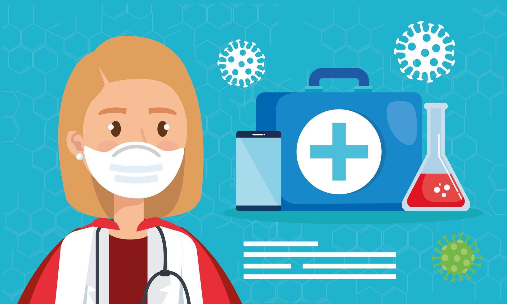 super medico con mantello di eroina e icone mediche vettore