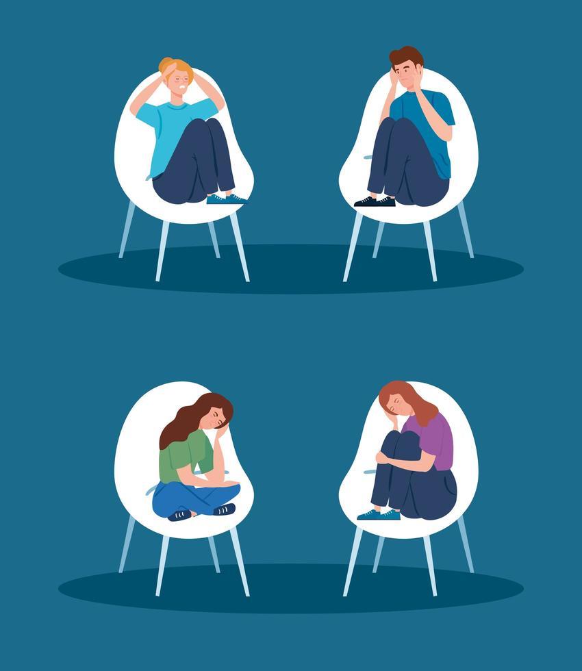 persone sedute su sedie con stress e depressione vettore