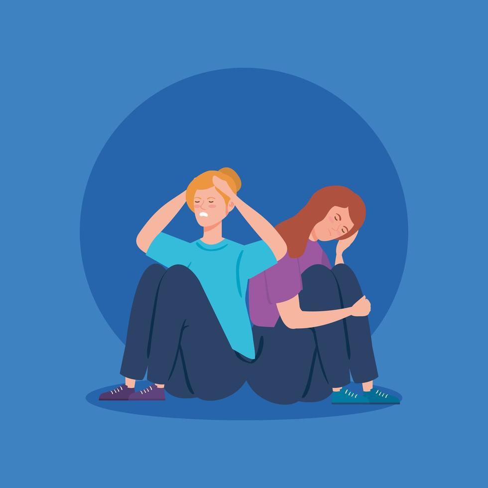 donne sedute sul pavimento con stress e depressione vettore