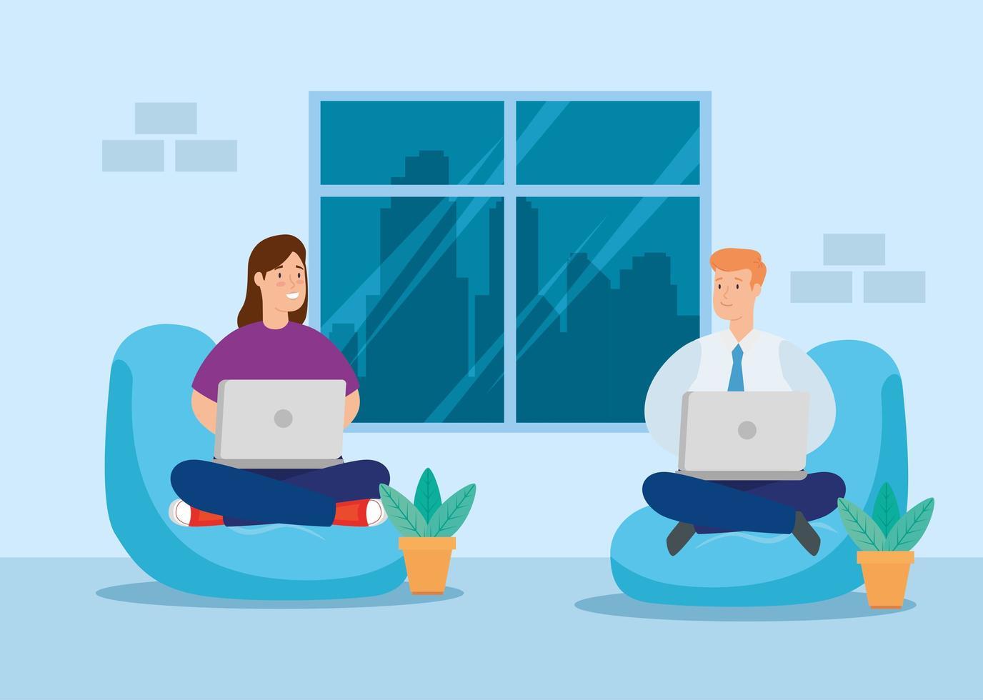 coppia che lavora sul proprio laptop sul divano vettore