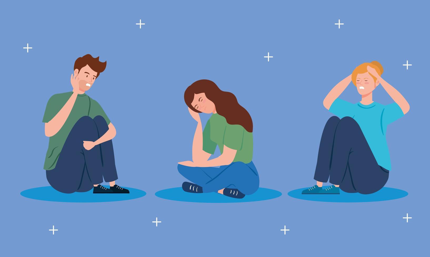 persone sedute sul pavimento con stress e depressione vettore