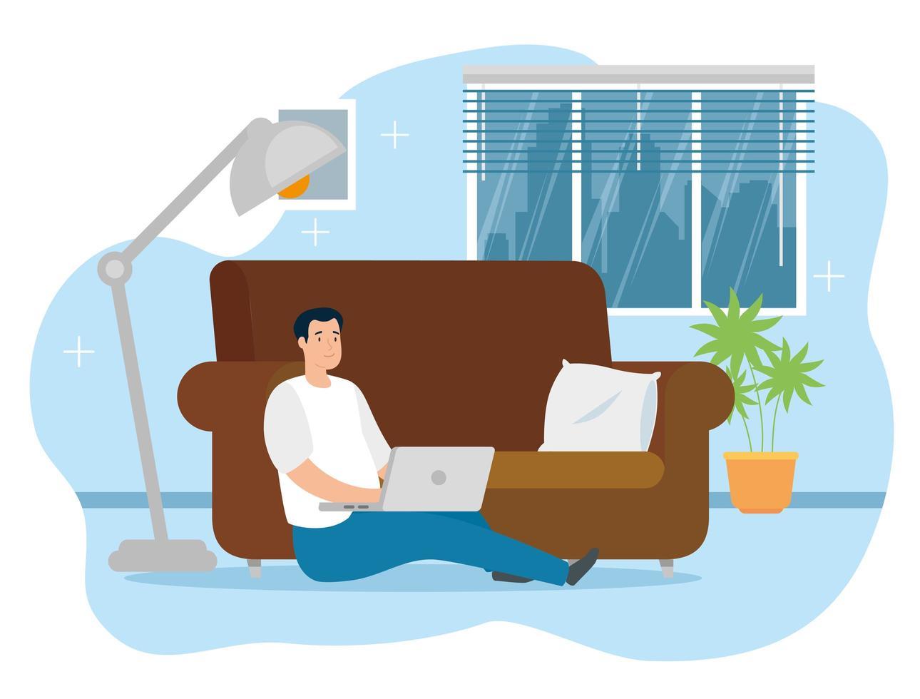 uomo che lavora al computer portatile al chiuso vettore