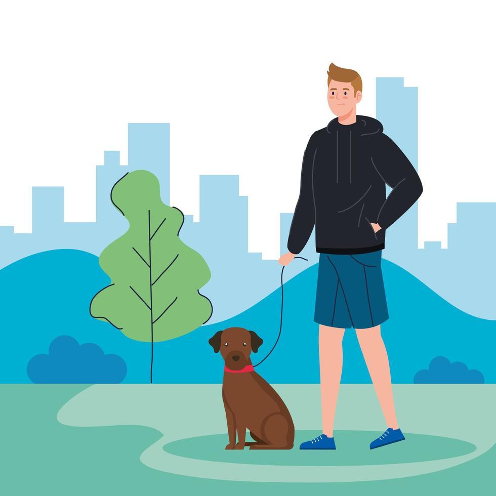 uomo che cammina con il cane all'aperto vettore