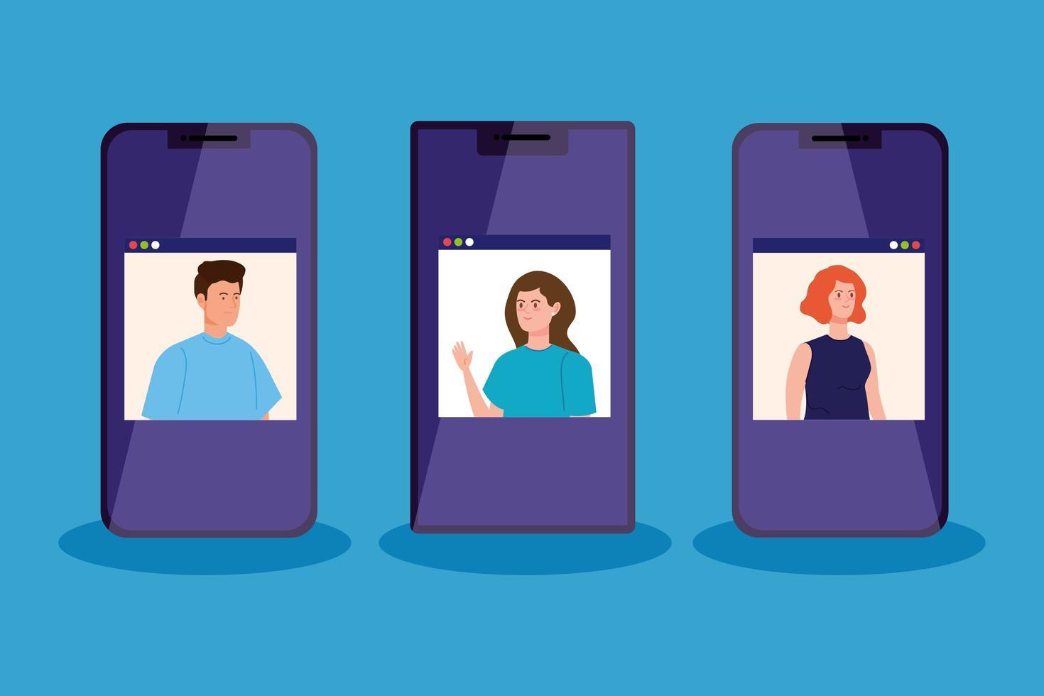 persone in videoconferenza tramite smartphone vettore