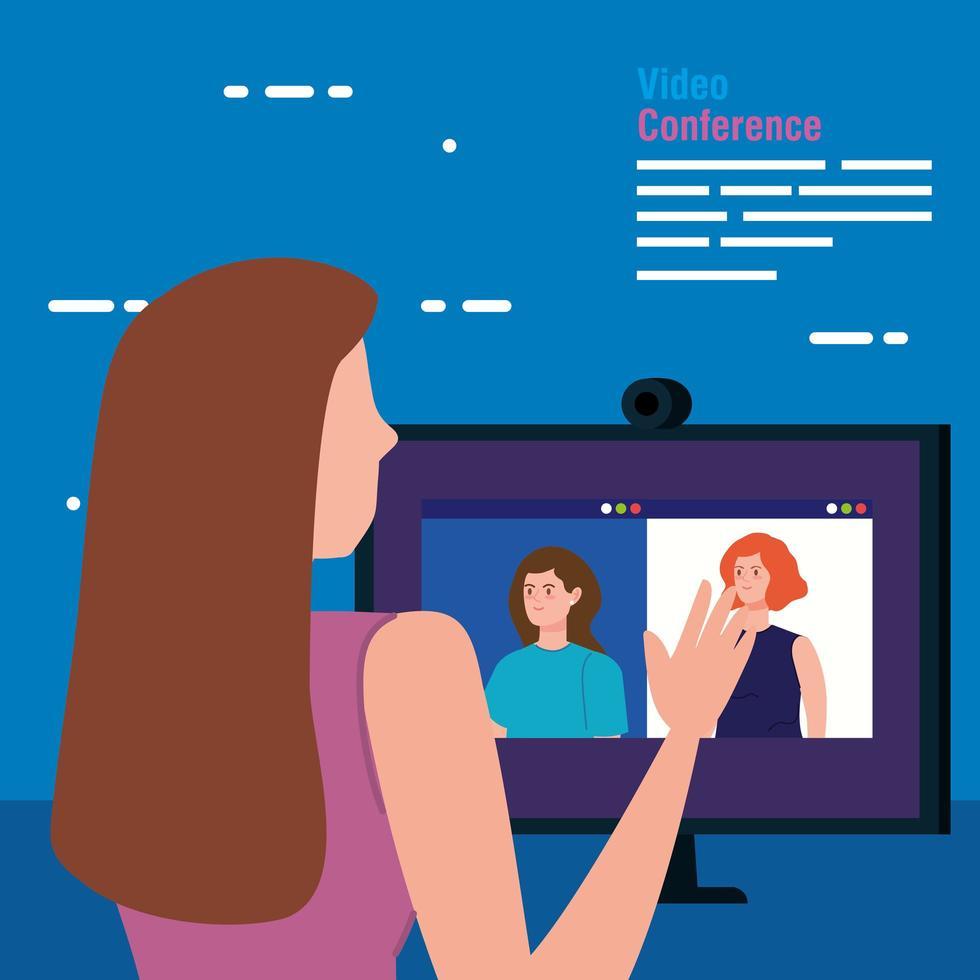donna in una videoconferenza tramite computer vettore