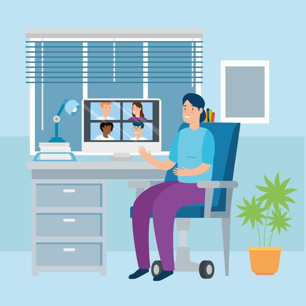 donna in una videochiamata in ufficio vettore