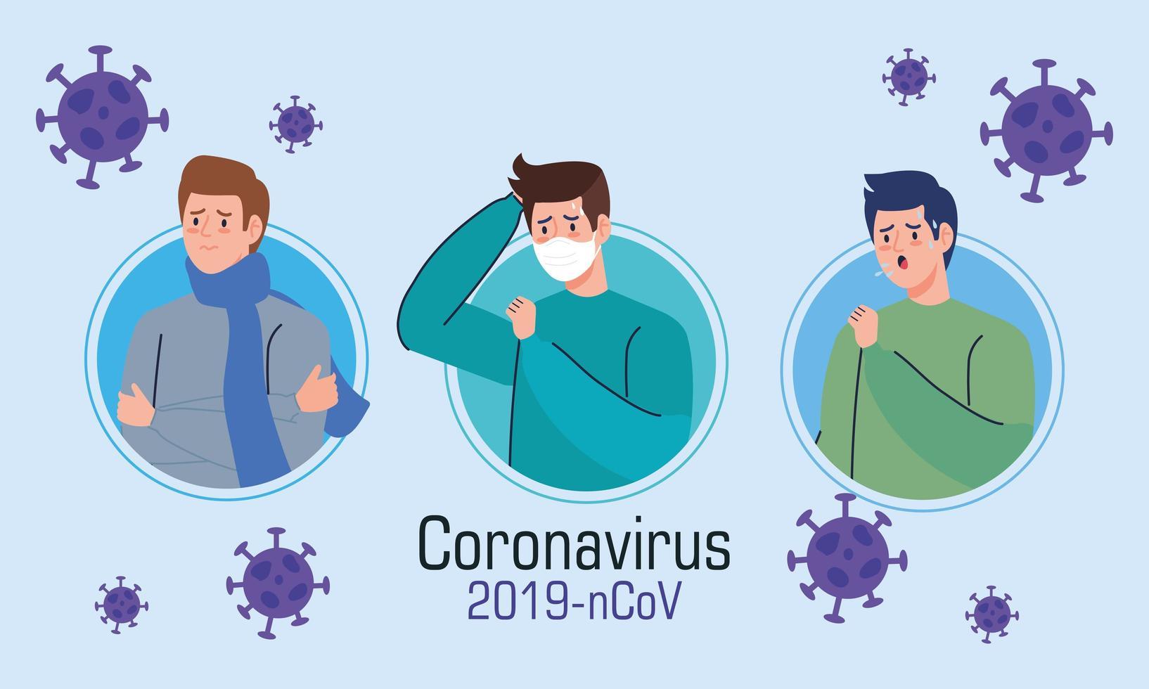 uomini con banner di sintomi di coronavirus vettore