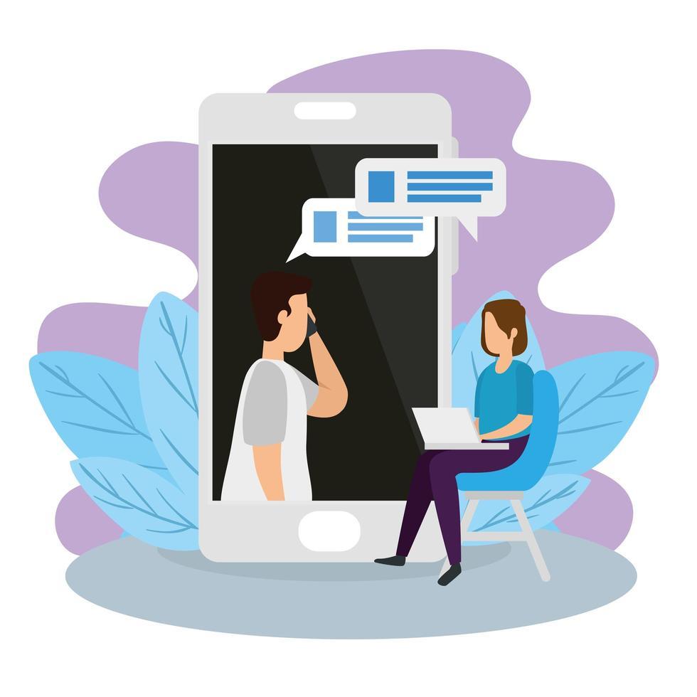 coppia in una videoconferenza con smartphone e laptop vettore