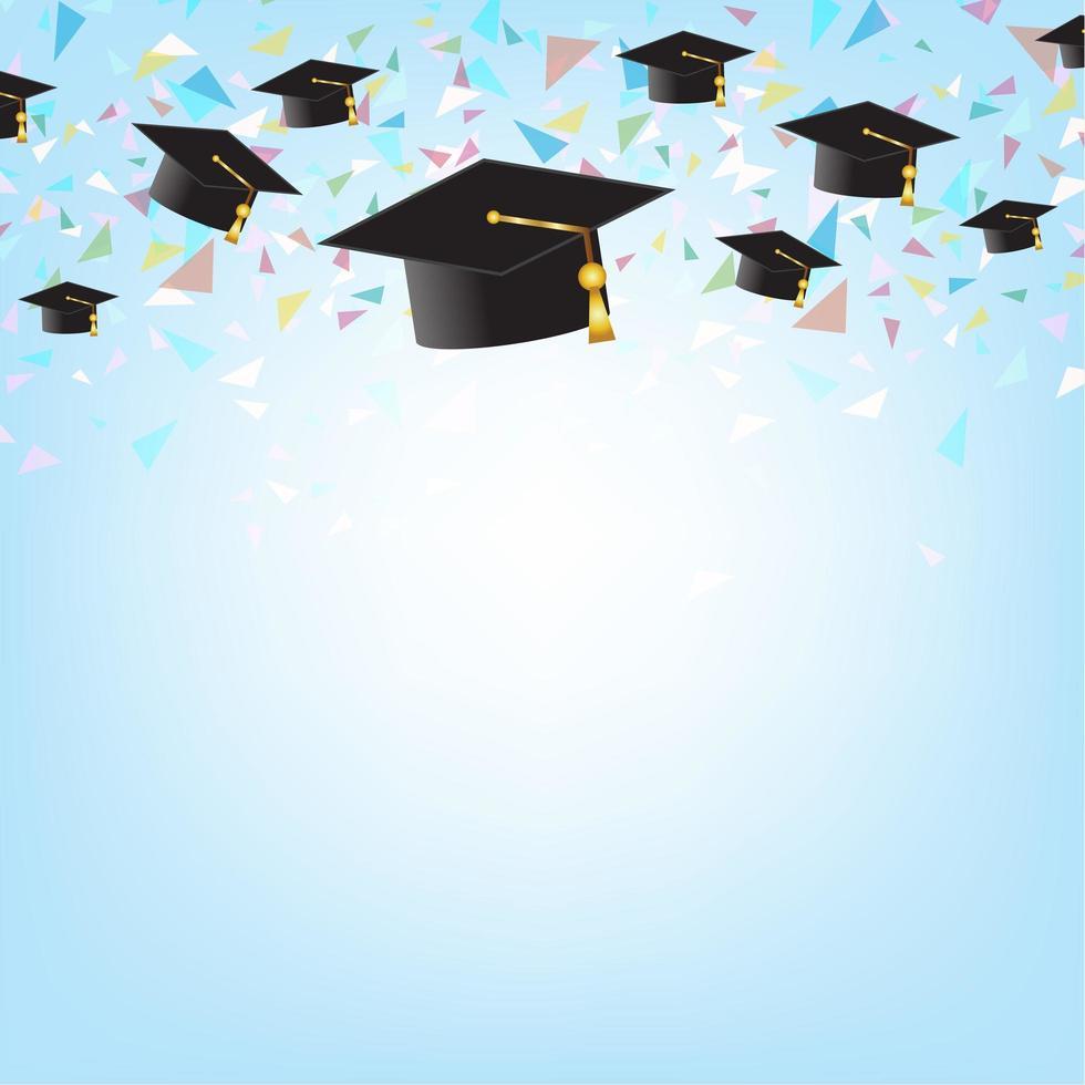 concetto di educazione con tappi di laurea sullo sfondo. vettore