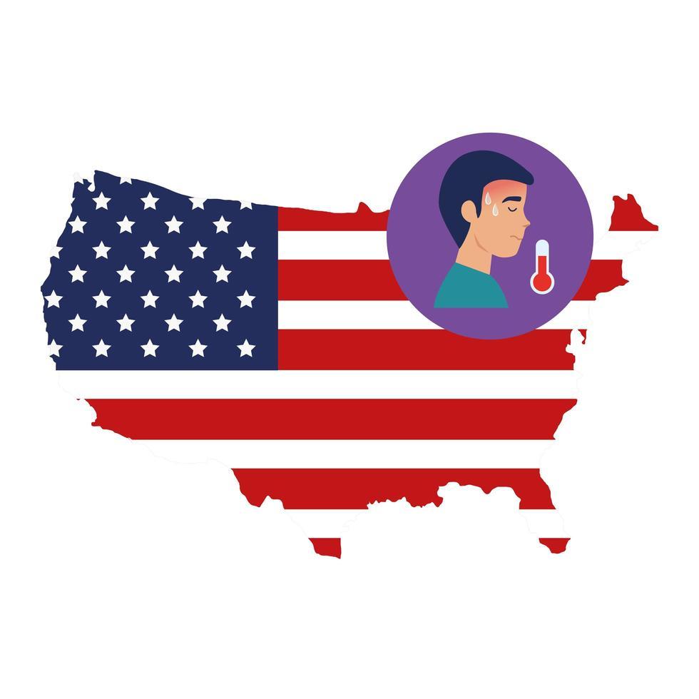 mappa degli Stati Uniti e campagna di prevenzione del coronavirus vettore