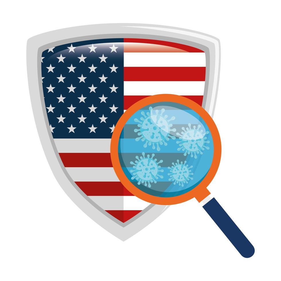bandiera degli Stati Uniti e campagna di prevenzione del coronavirus vettore
