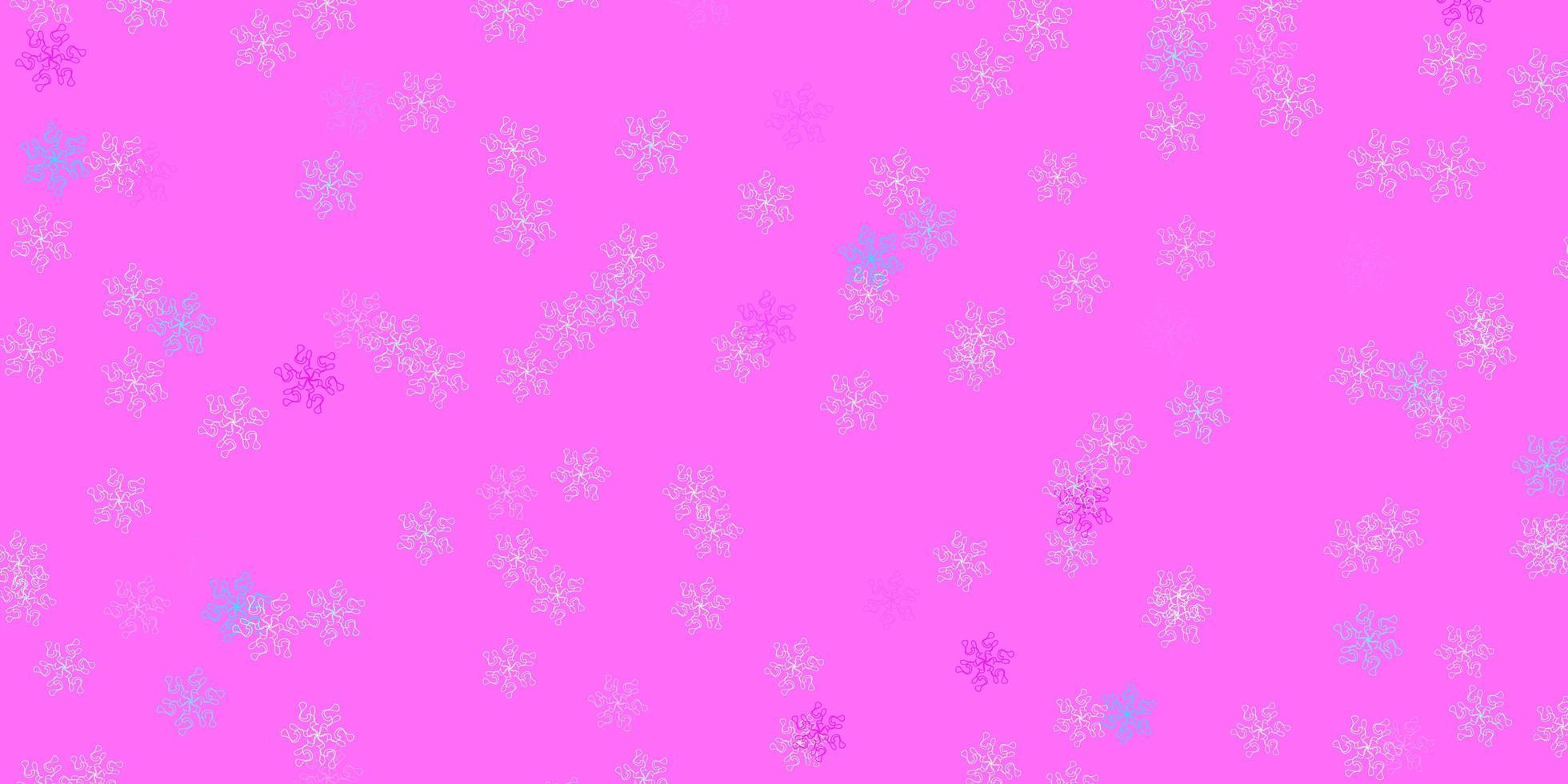 opera d'arte naturale vettoriale rosa chiaro, blu con fiori.