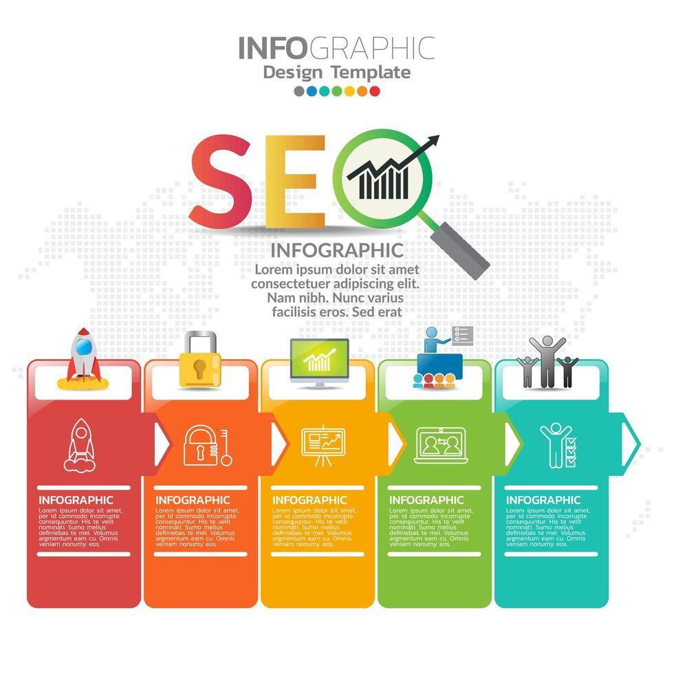 elementi infografici per contenuto, diagramma, diagramma di flusso, passaggi, parti, sequenza temporale, flusso di lavoro, grafico. vettore