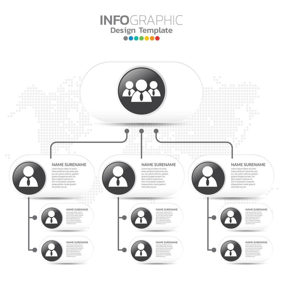 organigramma aziendale con icone di persone di affari. vettore
