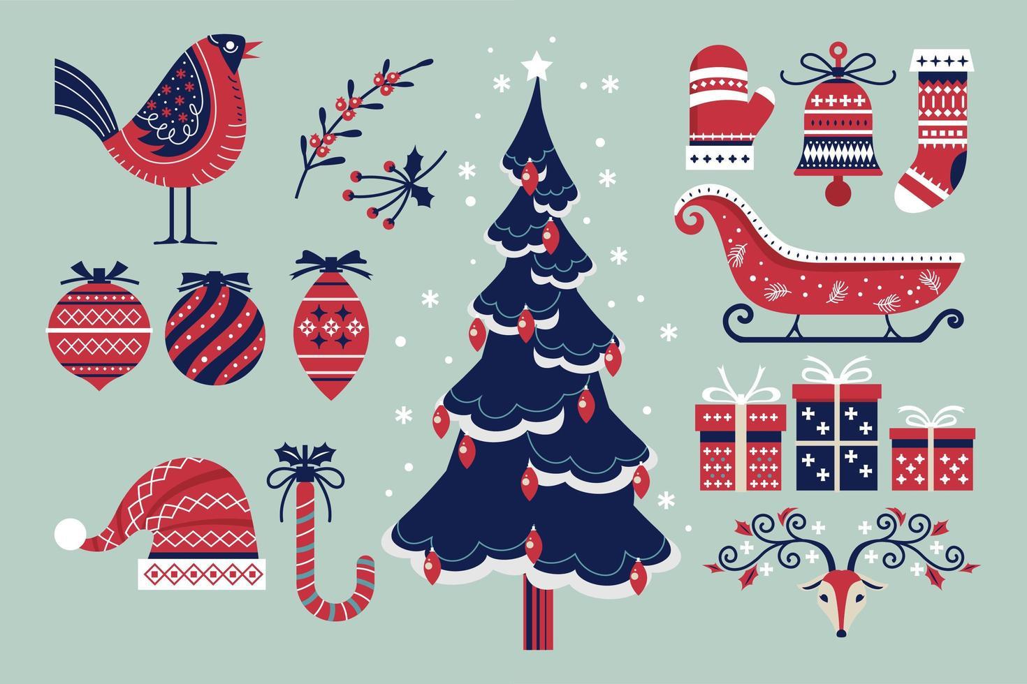 insieme di elementi di Natale e Capodanno vettore