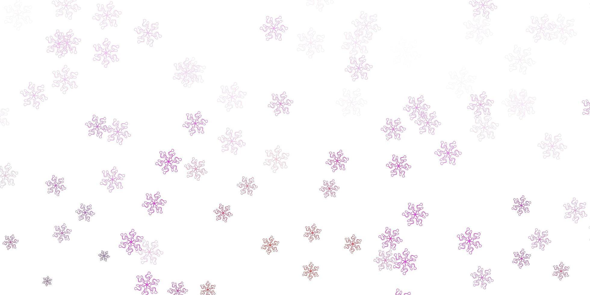 modello di doodle vettoriale viola chiaro, rosa con fiori.