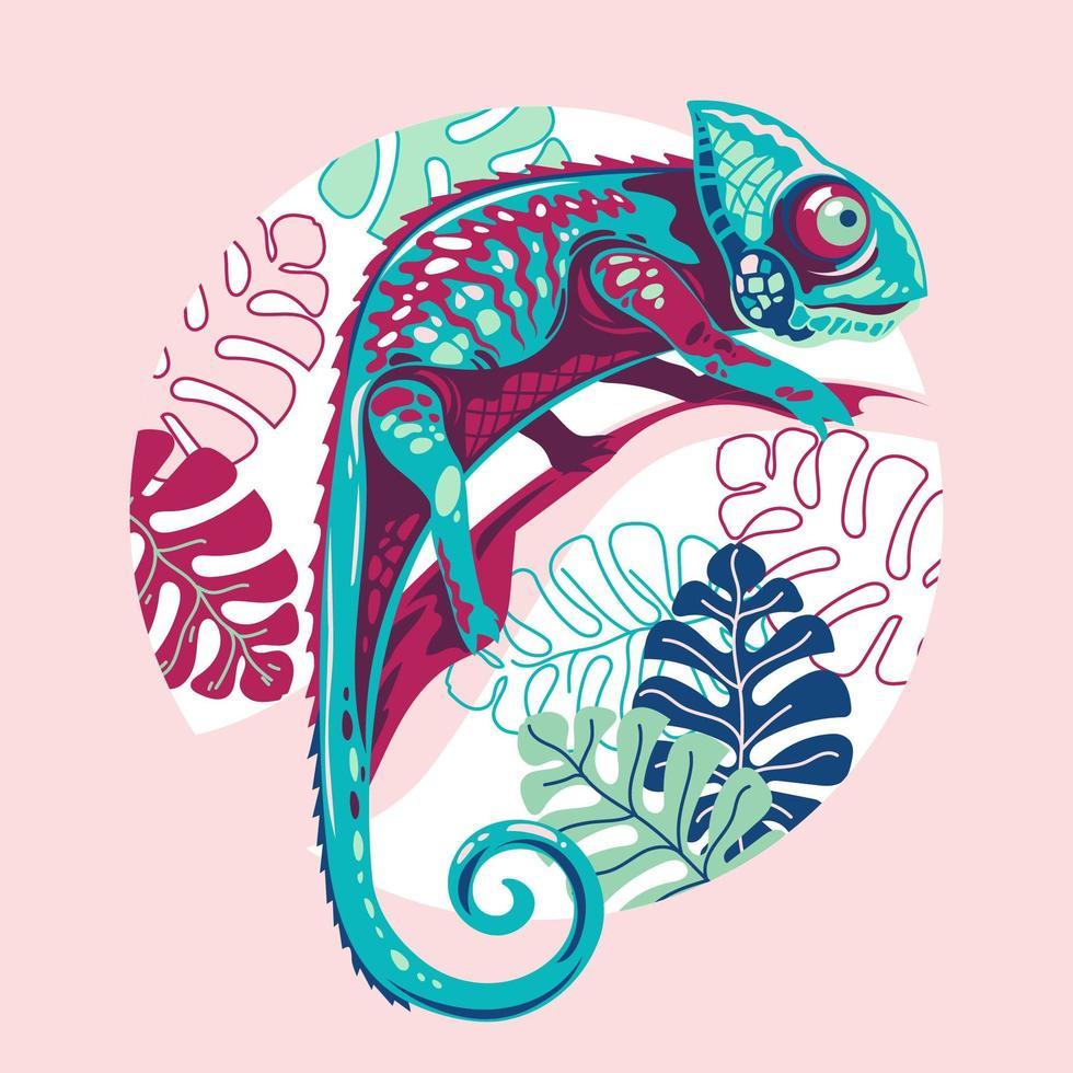 illustrazione vettoriale camaleonte esotico